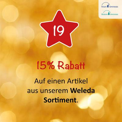 15% Rabatt bekommen Sie am 19.12. auf einen Artikel aus unserem Weleda Sortiment*.