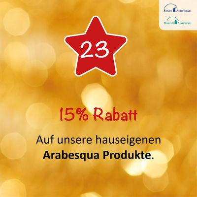 Auf unsere hauseigenen Arabesqua Produkte bekommen Sie 15% Rabatt am 23.12.